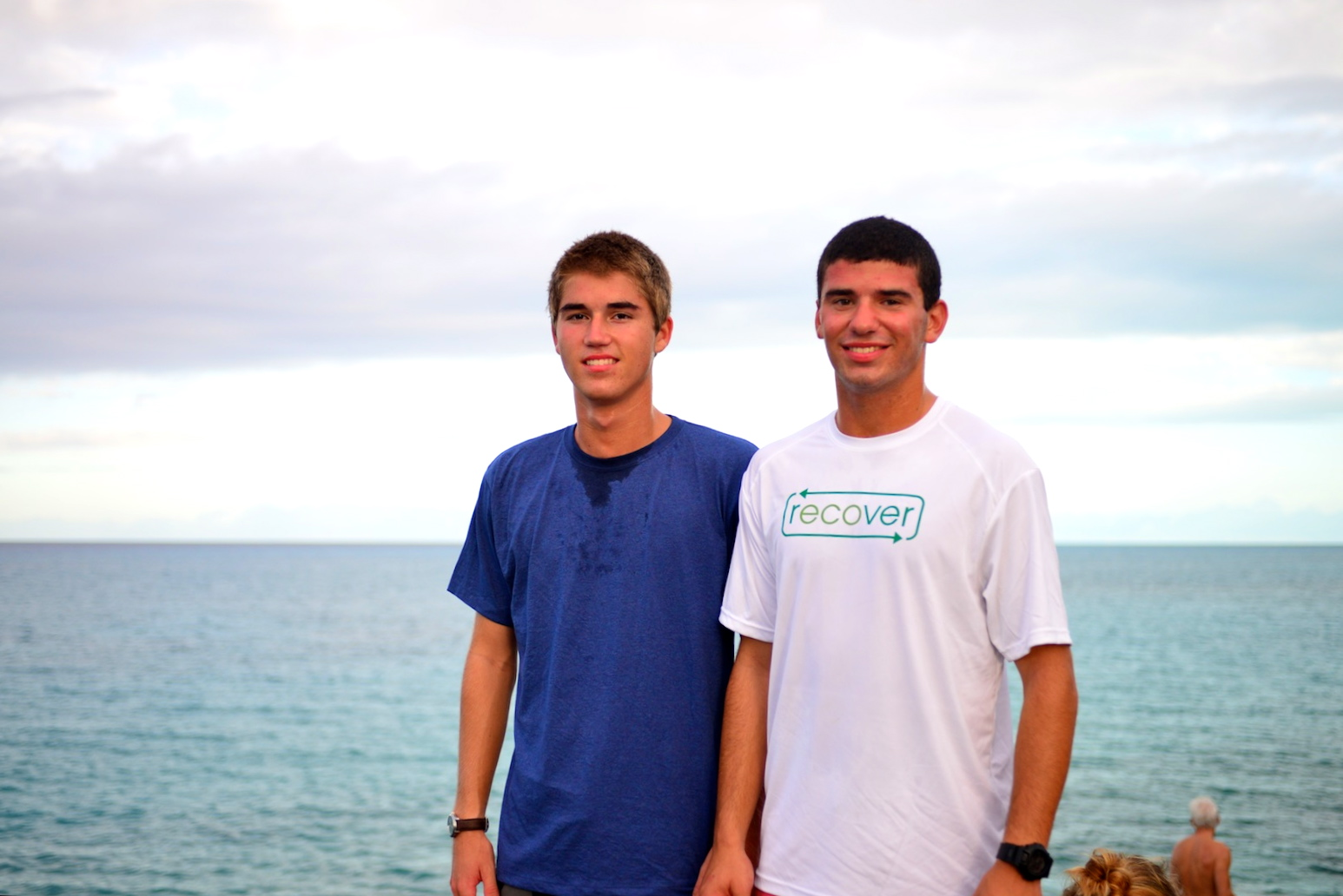 Ryan Schendel and Jake Varsano (F'12) put the Recover Brand t-shirts to the test by wearing them during morning exercise.