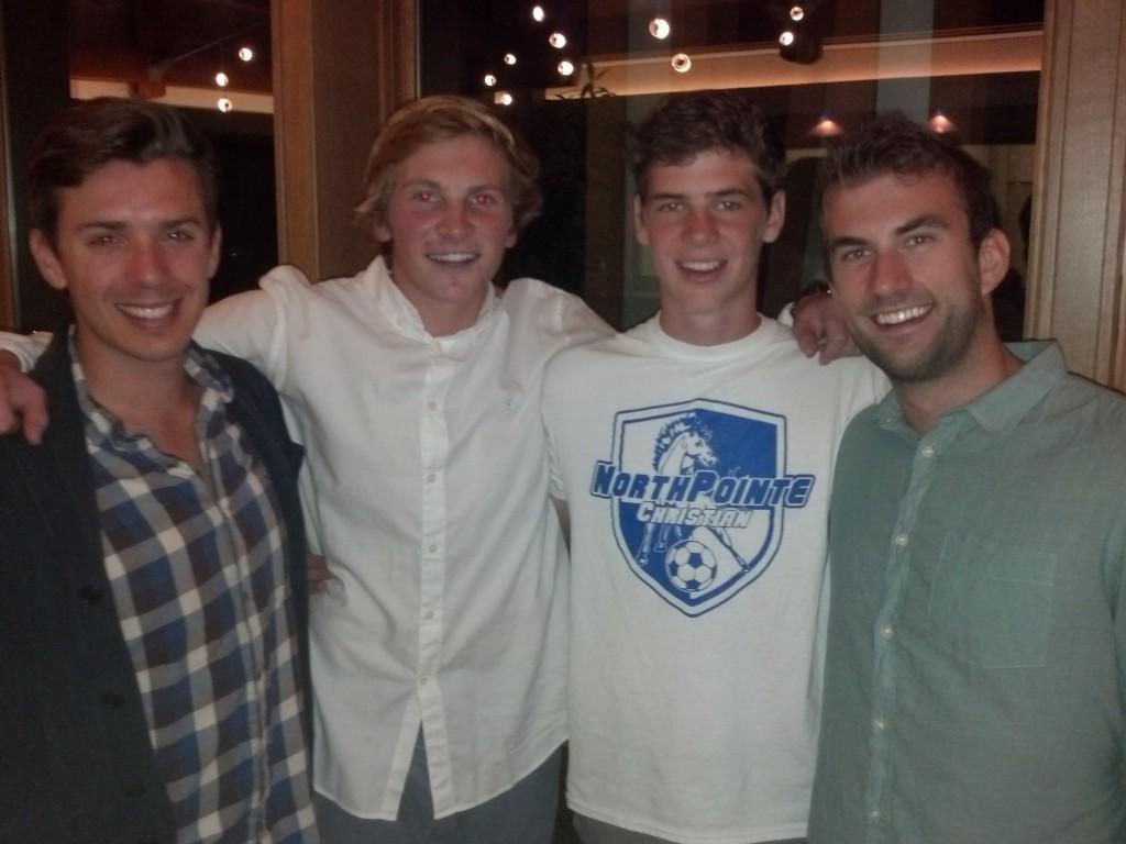 Friend, host Ben VanderWeide (S'13), Peter Cusack (S'13), friend