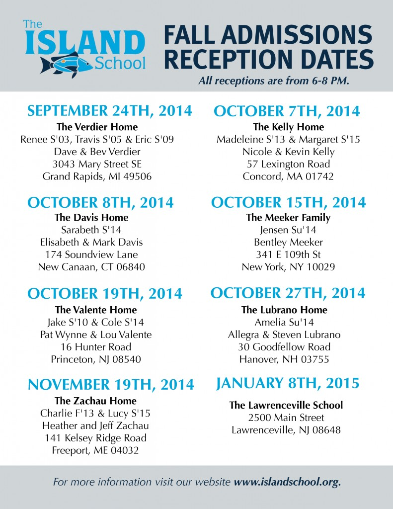 List of Receptions 2014-2015