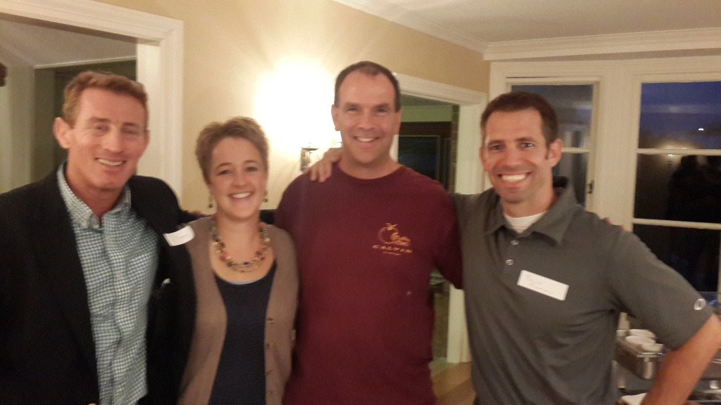 Maxey with 2014 Teacher Conference participants: Kara Kits (Grand Rapids Christian School), Keith Ver Beek (The Potter's House School), and Bruce Macartney (Forest Hills Eastern High School).