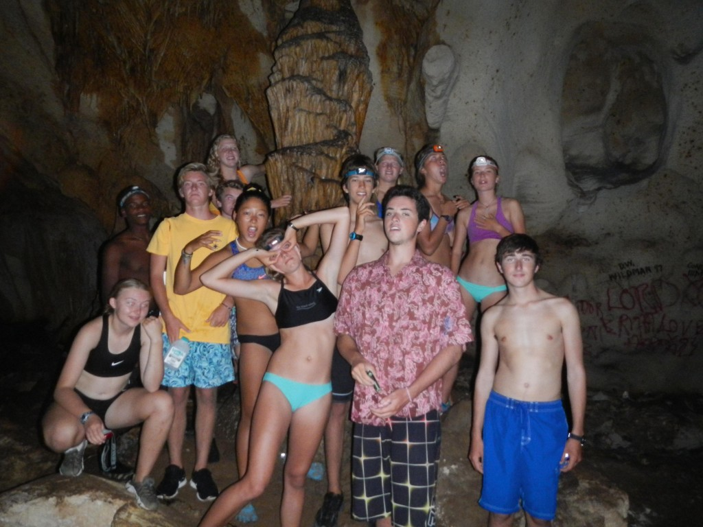 Students pose for a picture in Hatchet Bay Cave in Northern Eleuthera.