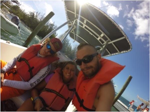 Dakota, Ali and Ethan on the boat.