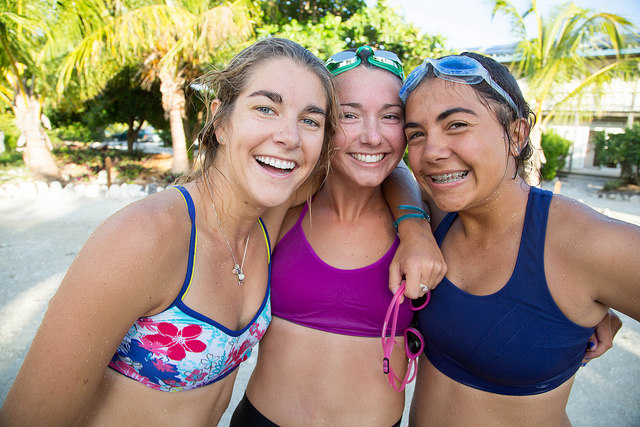 Beth, Ellie and Lily are all smiles after a recent run swim.