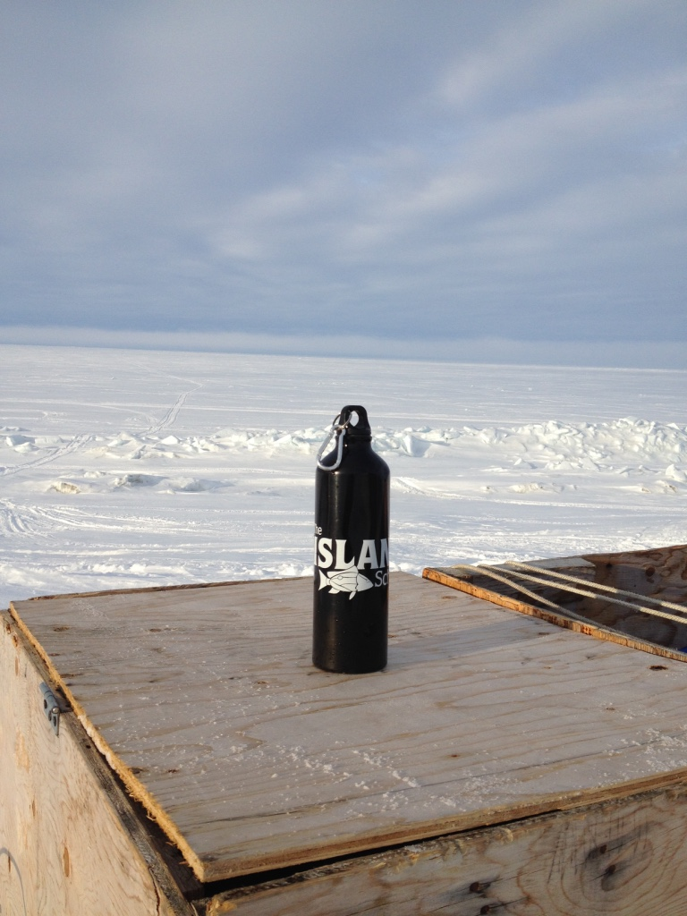 Island School water bottle at 71 degrees north!